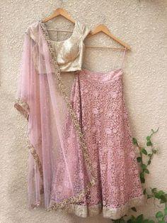 Pink and Gold Lehenga Set-Shrena Hirawat-Fabilicious Fashion Gold Lehenga, Indian Lehenga, Lehenga Choli, Lehenga Saree, Anarkali, Indian Wedding Outfits, Indian Outfits, Indian Clothes, Indian Attire