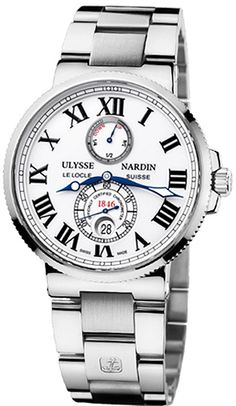 263-67-7/40  NEW ULYSSE NARDIN MAXI MARINE CHRONOMETER 43MM MENS WATCH     Usually ships within 8 weeks - FREE Overnight Shipping- NO SALES TAX (Outside California)- WITH MANUFACTURER SERIAL NUMBERS- White Dial - Power Reserve Indicator - Self Winding Automatic Chronometer Movement - 3 Year Warranty- Guaranteed Authentic- Certificate of Authenticity- Scratch Resistant Sapphire Crystal- Polished Steel Case