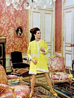 Fiona (Baroness Thyssen) in yellow wool coat and dress by Jules Crahay for Lanvin, photo by Jean-Claude Sauer in the Louis XVI-furinished salon of Madame Yves Lanvin, 1967