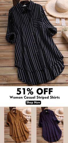Women Casual Striped Chest Pocket Asymmetry Long Shirts.