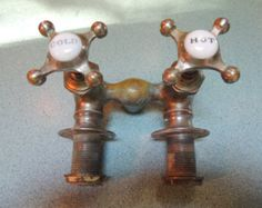 Nickel Plated Brass Faucet, Water Fixture, Porcelain Hot and Cold Knobs, Antique, Plumbing, Vintage.