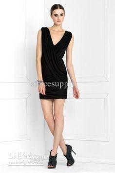 Deep V Neckline Knee Length Chiffon Cocktail Dresses $112