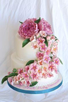 Communion Cake with Peonies