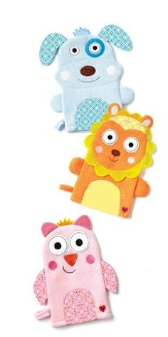 #Two's #Company Happi Animal Wash Mitts in terri cloth available in three adorable designs: an Owl, Dog or a sweet Lion . They are made of Polyester & Cotton and ...