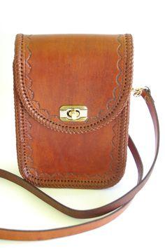 Vintage Bohemian Rectangular Leather Tooled Handbag