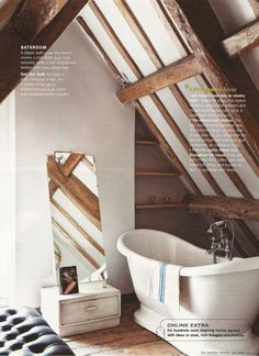 Slipper bath under the beams; Jo Berryman