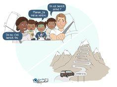Ah, la montagne et son air pur ! Si t'es parent, tu sais que les derniers kilomètres avant l'arrivée sont toujours les plus longs… Parents, Phrases, Air, Family Guy, Humor, Illustration, Fictional Characters, Image, Parenting Humor