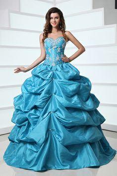 Avant-Garde Blue Sleeveless Sweetheart Ball Gown Prom Dresses $159.49