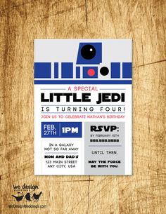 "Custom Star Wars Inspired Birthday Invitation. Printable DIY 5x7"" flat card $9.99 USD https://www.etsy.com/listing/266084581/custom-star-wars-inspired-birthday?ref=listings_manager_grid"