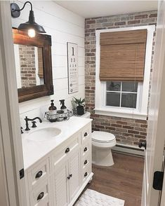 Best Rustic Bathroom Decor Ideas to Attempt in Your Home - Kids Bathroom Ideas – Enhancing kids washroom can be extremely fun. Every edge of the washroom ha - Bad Inspiration, Bathroom Inspiration, Brick Veneer Wall, Faux Brick Wall Panels, Fake Brick Wall, Bathroom Kids, Brick Bathroom, Bathroom Wall Ideas, Brick Wallpaper Bathroom