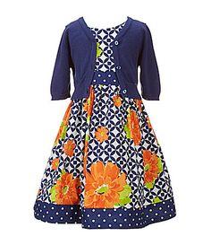 Bonnie Jean 2T6X Solid Boyfriend Cardigan and GeometricFloralPrinted Dress #Dillards