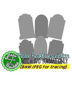 Halloween Gavestones Bundle of 6 MTC & SVG Cut File with traceable JPEGS