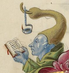 man reading by the light of a candle lamp attached to his hat: marginal drawing getty museum, ms. ludwig VI, 2 (italian, c. Medieval Books, Medieval Life, Medieval Manuscript, Medieval Art, Illuminated Manuscript, Medieval Drawings, Illustrations, Illustration Art, Renaissance