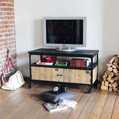 Zwart houten en metalen industrieel tv-meubel op wieltjes B 110 cm