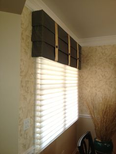 Hunter Douglas sihouettes with a custom mock roman valance, Love the simple, classic look!