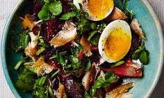 Yotam Ottolenghi's marinated beetroot with egg and smoked mackerel.