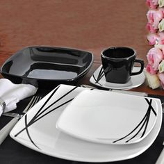 Aparelho de Jantar e Chá Quadrado Riscos 30 Peças - Presentes - Precolandia