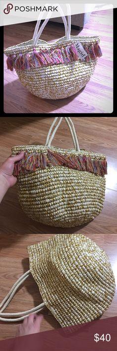 MAGID HAND BAG STRAW BEACH BAG PURSE Tassels  cute look at pic magid Bags Totes