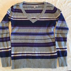 Sweater Multicolored purple and grey vneck sweater. 55% cotton 10% rayon 10% wool Old Navy Sweaters V-Necks