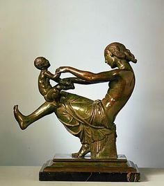 Playfulness, 1912-1914, Paul Manship, Roman Bronze Works (Founder) bronze on marble base, 13 3/8 x 12 5/8 x 7 in. (34.0 x 32.1 x 17.8 cm.),Smithsonian American Art Museum, Gift of the artist, 1965.16.12
