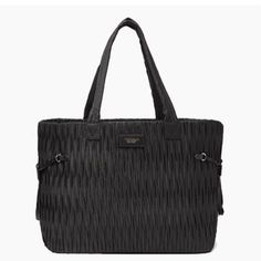 cbf1abb4652 Victoria Secret 2017 Carry On Pure Black Pleated Satin Weekender Tote  Bag Purse in Clothing