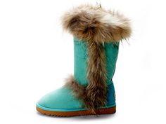 Fox Fur Ugg Tall Fashion Boots Pool-Green