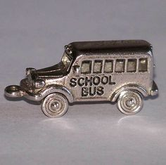 Mechanical Sterling Silver School Bus Charm 925 Wheels Turn from Cousins Antiques