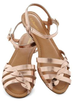Lets Twist Sandal in Rose Gold by Bass - Leather, Gold, Braided, Summer, Flat, Solid, Casual, Daytime Party, Beach/Resort, Spring, Strappy