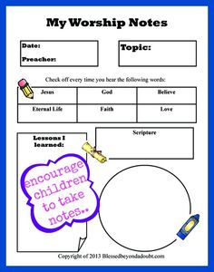 Encouraging Your Children to take Sermon Notes and FREE Printable! - Blessed Beyond A Doubt