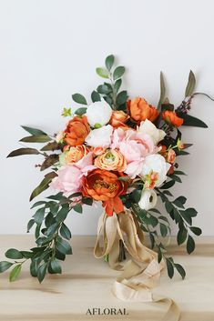 Wedding bouquet ideas pink and orange wedding bouquet made with artificial flowers orange wedding, fall Orange Wedding Flowers, Fall Wedding Bouquets, Wedding Flower Arrangements, Fake Flowers, Bridal Flowers, Orange Flowers, Flower Bouquet Wedding, Silk Flowers, Artificial Flowers