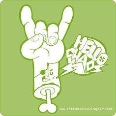Victor Cabanillas #threefivefifty #02#sticker #3550 #design #ilustration #green #hello #chaos Funny Ideas, Sticker, Peace, Green, Design, Funny Stuff, Hilarious, Stickers