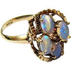 #Rubylane www.rubylane.com #vintage #vintagebeginshere Antique 10KT Yellow Gold Natural Opal and Garnet Ring - Signed and Hallmarked