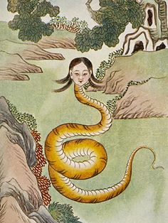 Nüwa was a serpent deity from ancient Chinese mythology. Sometimes she is pictured as a gorgeous woman, other times she is shown possessing a woman's head but the body of a powerful snake. Nüwa was… Fine Art Prints, Canvas Prints, Framed Prints, Snake Goddess, Dragons, Creation Myth, Chinese Mythology, Mother Goddess, Arte Horror