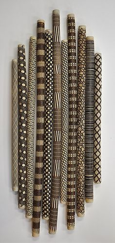 Tribal Sticks by Kelly Jean Ohl. This wall installation is comprised of 11 individual hand carved ceramic pieces. Dimensions refer to individual pieces. Stick Wall Art, Wood Wall Art, Wall Art Decor, Painted Driftwood, Driftwood Crafts, Twig Art, Arte Tribal, Tribal Decor, African Home Decor
