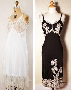 Above left: A 1950s slip marked Carol Brent Lingerie. Above right: A black 1950s Satilene slip with cream lace by Kayser Lingerie.