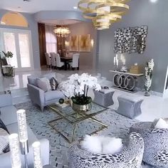 Decor Home Living Room, Glam Living Room, Elegant Living Room, Elegant Home Decor, Luxury Home Decor, Living Room Designs, Living Room Ideas Black And White, Fancy Living Rooms, Small Living