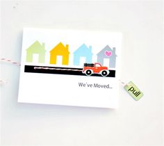 We've Moved Card – The Idea Room  Moving? Create some fun and interactive cards to let your friends and family know you have moved. A creative way to announce and share your new home address so they can keep in touch.  DIY, created with a Cricut Explore, creative cards, crafting, crafts