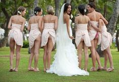 This is cute, but I dont think I would want everybody to see my butt,,,,,but would be cute for the bride and the girls just for themselves..For anyone who is EVER getting married - this site has AMAZING photo ideas!!