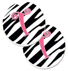 Monogram Initial T Zebra Stripe and Pink Set of 2 Cup Holder Car Coasters CJ1037-TCARC
