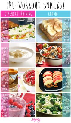 Pre-Workout meal – when and how much? Depending on how much time you have, it's ideal to have a pre-workout meal about 2 hours before exercise that contains ~300 to 500 calories, OR have a smaller meal/snack with less calories, 30 to 60 minutes before you train. Pre-workout meals will vary from person to person because some people take a longer time to digest certain foods. It's best to listen to your body and notice how you feel after you eat.