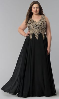 5330ae29531 Beaded-Lace-Applique Long High-Neck Plus Prom Dress