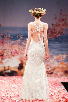 """Claire Pettibone """"Earthly Paradise"""" 2013 Collection, seen on Merci New York, a fashion blog for brides - http://mercinewyork.blogspot.com/2012/10/claire-pettibones-new-wedding-dress.html# #flowers #lace #romance #gowns #hairwreath"""