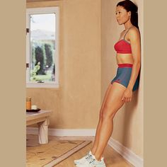 1. Lean head, shoulders, lower back, and butt against a wall, with feet about 18 inches in front. Click arrow to see the next step. Muscles it works: Quadriceps, butt and hamstrings