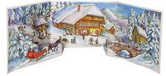 Amazon.com: 3-D Winter Cabin in Forest Panorama German Christmas Advent Calendar Countdown: Home & Kitchen