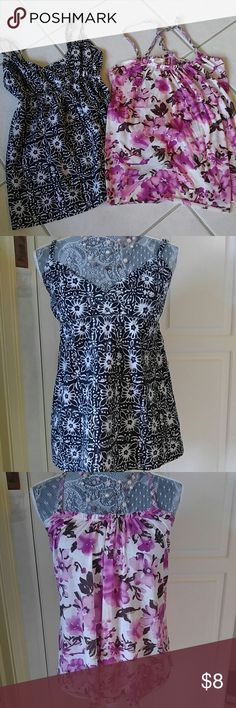 Tank top bundle Tank top bundle of 2.  Black/White floral print is New York & Company in XS.  Adjustable straps. Purplish/Pink is Charlotte Russe. Adjustable straps. New York & Company Tops Tank Tops