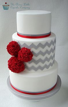 Awesome Scarlet and Gray Cakes image. Red and Gray Wedding Cake Red and Grey Wedding Cake Red and Grey Wedding Cake Red and Grey Wedding Cake Wedding Cakes with Red Rose Petals Wedding Cake Red, Beautiful Wedding Cakes, Gorgeous Cakes, Pretty Cakes, Cute Cakes, Amazing Cakes, Fondant Cakes, Cupcake Cakes, Chevron Cakes