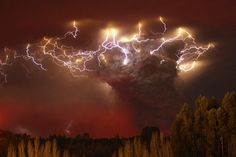Lightning flashes around the ash plume of the Puyehue-Cordon Caulle volcano chain near Entrelagos, Chile.