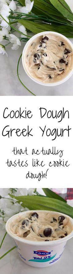 Cookie Dough Greek Yogurt- That actually tastes like cookie dough! 1 container plain greek yogurt or 1 tbsp cashew butter 1 tsp vanilla extract tsp maple syrup tsp honey pinch of salt chocolate chips Slow Cooker Desserts, Greek Yogurt Recipes, Greek Yogurt Cookies, Cookie Dough Yogurt, Greek Yogurt Dessert, Greek Yogurt Cheesecake, Chocolate Greek Yogurt, Greek Yogurt Breakfast, Greek Yogurt Protein