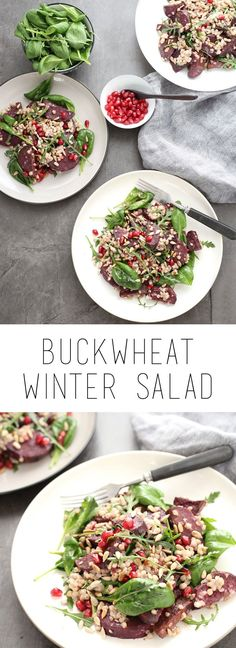 Buckwheat winter salad with roasted sweet potato, an easy and healthy lunch or family dinner (gf, vegan)