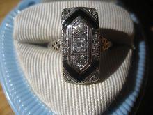 SHOP SPECIAL! Beautiful Vintage Diamond Black Onyx Filigree Ring in 18K White Gold True Art Deco!